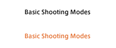 Basic Shooting Modes